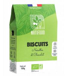 Natifood - Biscuits Noisettes et Chocolat - 100 g