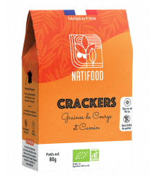 Natifood - Crackers Graines de Courge et Cumin - 80 g